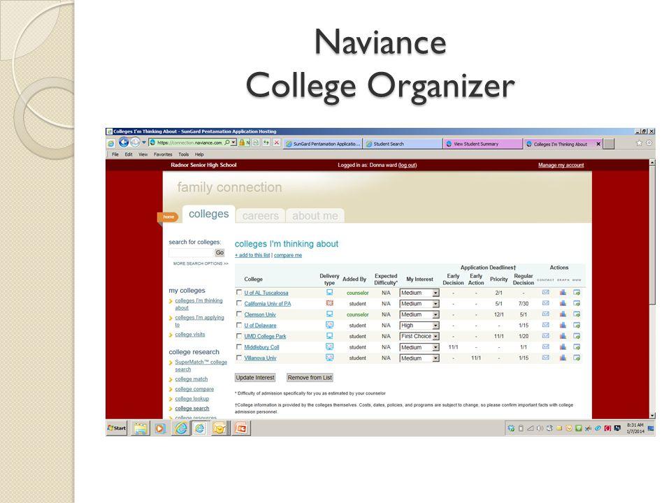 Naviance College Organizer