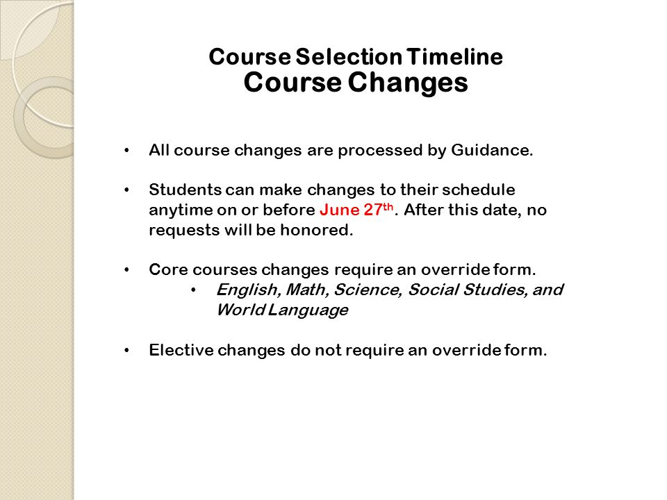 Course Selection Timeline All course changes are processed by Guidance.