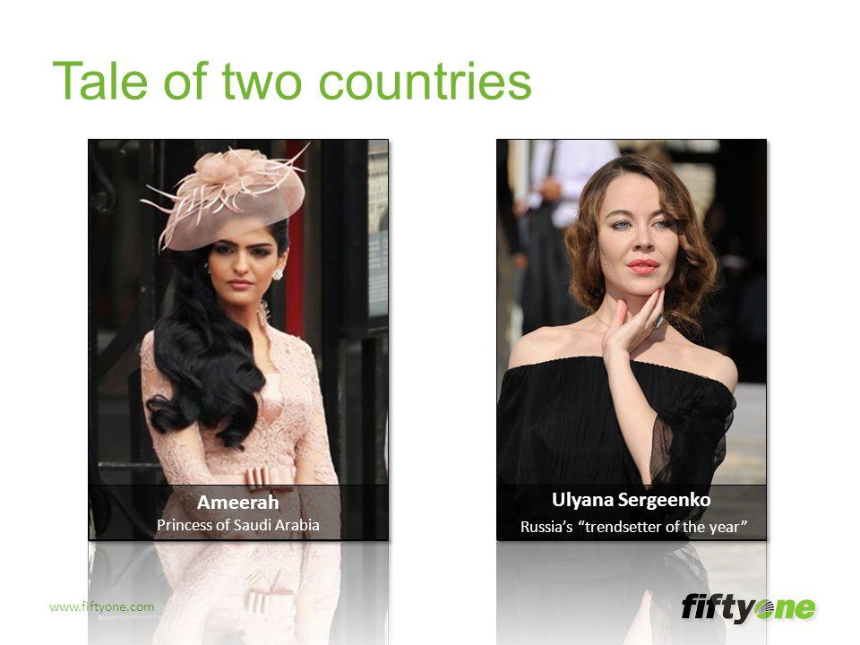 "www.fiftyone.com Tale of two countries Ulyana Sergeenko Russia's ""trendsetter of the year"" Ameerah Princess of Saudi Arabia"