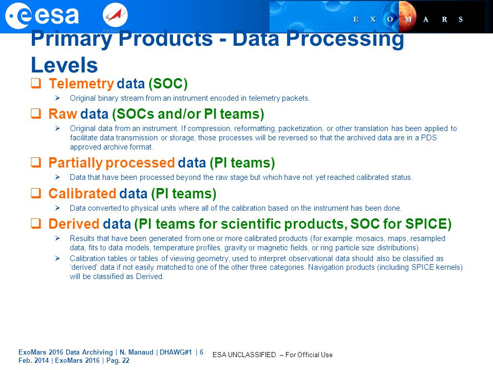 ESA UNCLASSIFIED – For Official Use Primary Products - Data Processing Levels  Telemetry data (SOC)  Original binary stream from an instrument encod