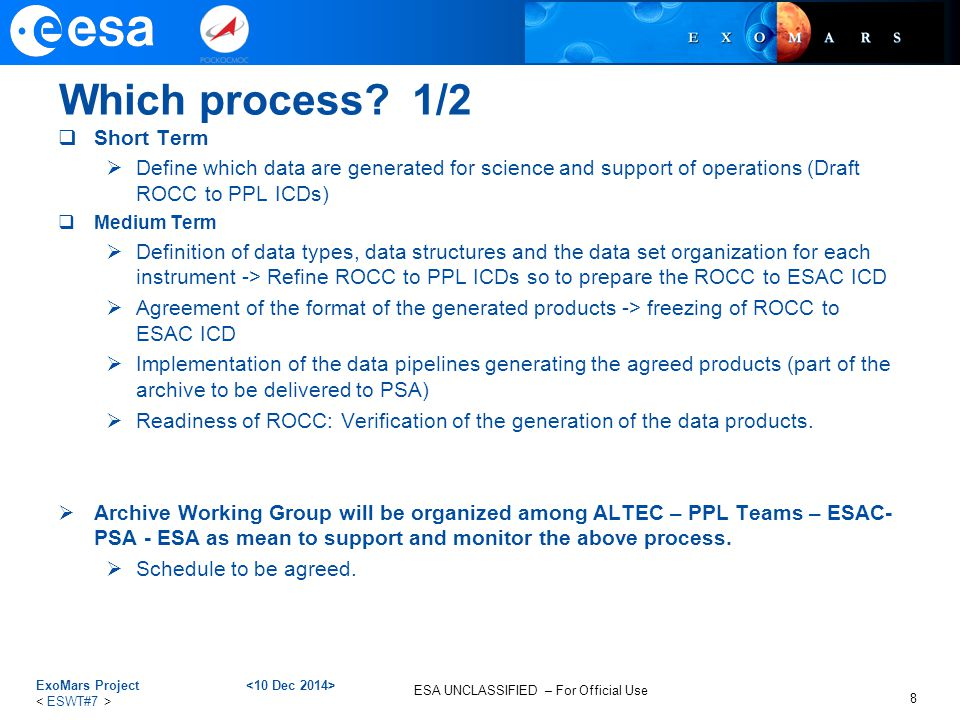 ESA UNCLASSIFIED – For Official Use Quality Control Process Overview  Formal reviews of the science data ingested in the archive will be organised by the ESAC SOC, in coordination with the IKI SOC and the Project Scientist(s).