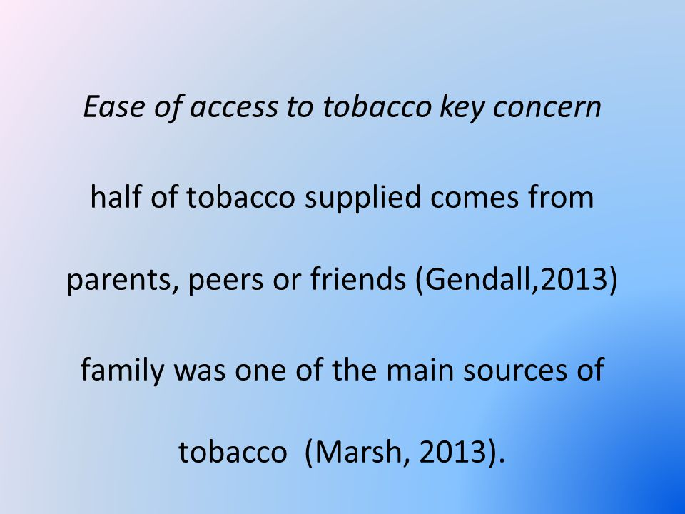 Ease of access to tobacco key concern half of tobacco supplied comes from parents, peers or friends (Gendall,2013) family was one of the main sources of tobacco (Marsh, 2013).