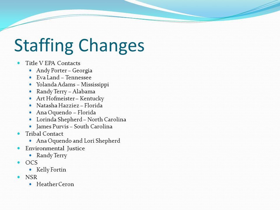 Staffing Changes Title V EPA Contacts Andy Porter – Georgia Eva Land – Tennessee Yolanda Adams – Mississippi Randy Terry – Alabama Art Hofmeister – Ke