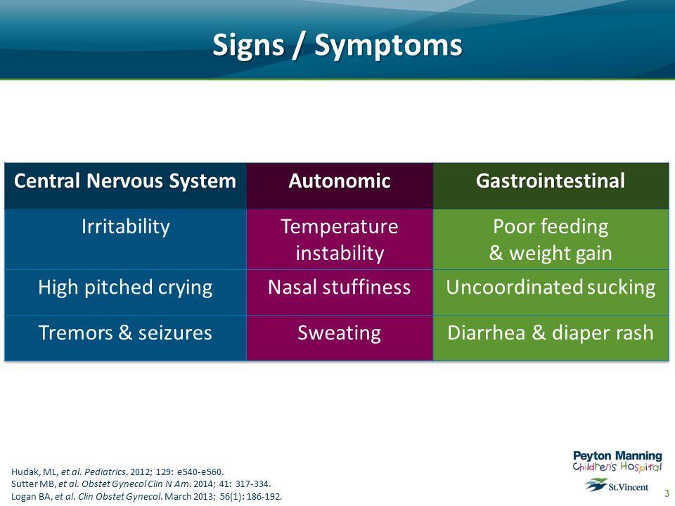 Signs / Symptoms 3 Hudak, ML, et al. Pediatrics. 2012; 129: e540-e560.