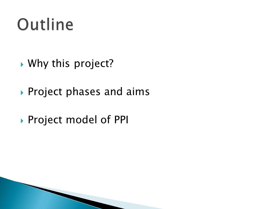  Why this project  Project phases and aims  Project model of PPI