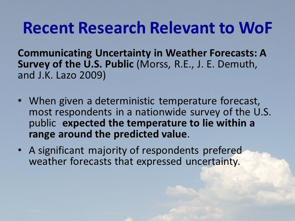 Recent Research Relevant to WoF Communicating Uncertainty in Weather Forecasts: A Survey of the U.S.