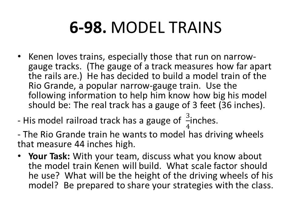 6-98. MODEL TRAINS