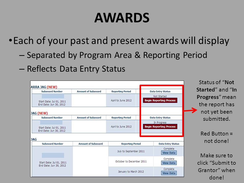 AWARDS Each of your past and present awards will display – Separated by Program Area & Reporting Period – Reflects Data Entry Status Status of Not Started and In Progress mean the report has not yet been submitted.