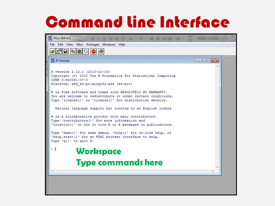 Command Line Interface Workspace Type commands here