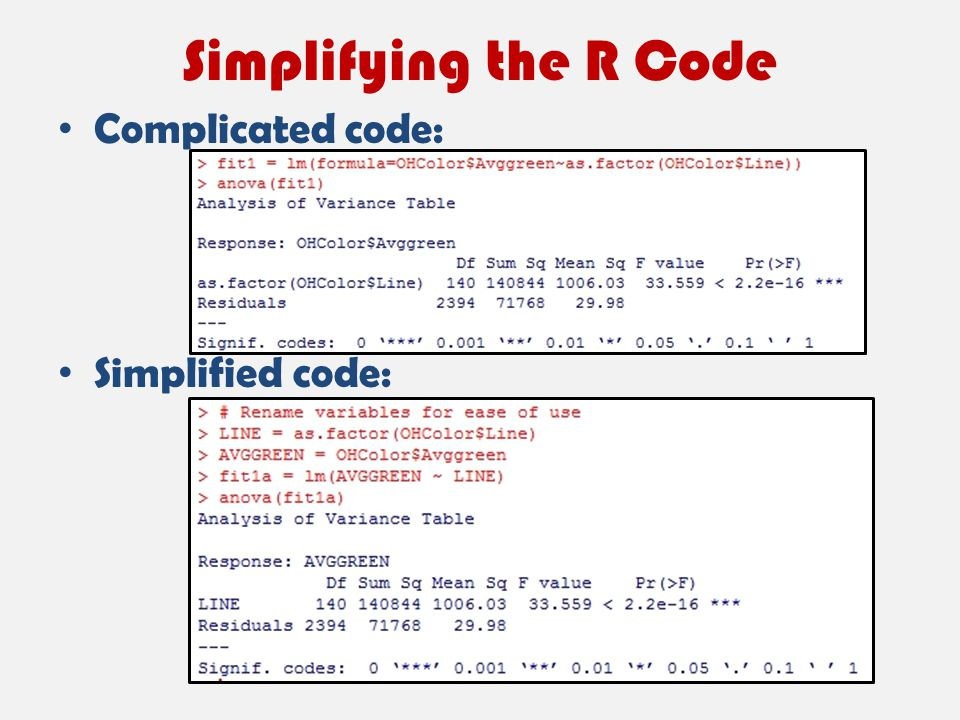 Simplifying the R Code Complicated code: Simplified code: