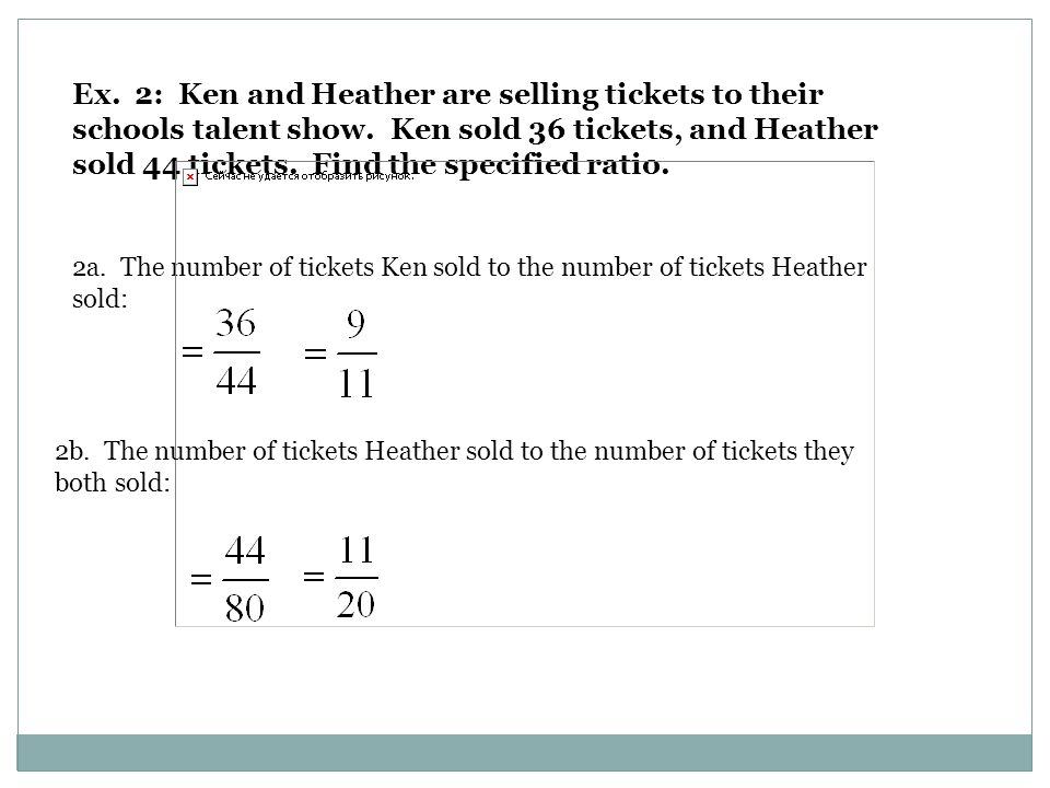 Ex. 2: Ken and Heather are selling tickets to their schools talent show.