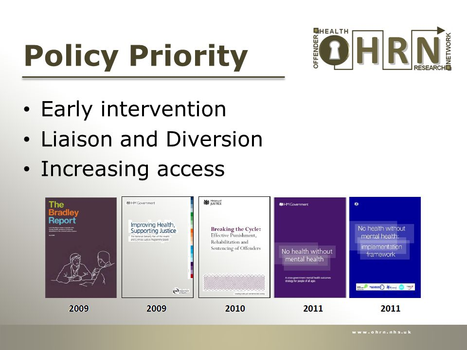 www.ohrn.nhs.uk Policy Priority Early intervention Liaison and Diversion Increasing access