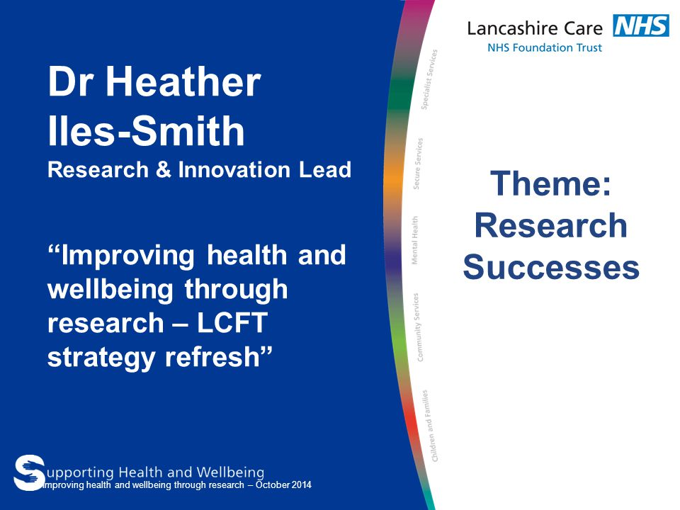 Dr Heather Iles-Smith Research & Innovation Lead Improving health and wellbeing through research – LCFT strategy refresh Theme: Research Successes Improving health and wellbeing through research – October 2014