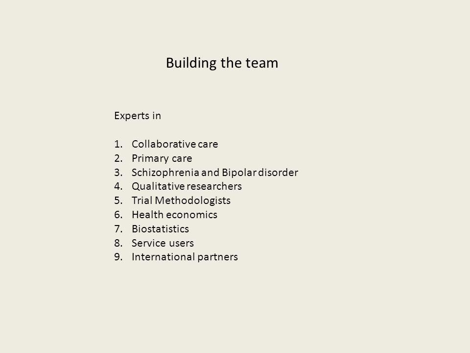 Building the team Experts in 1.Collaborative care 2.Primary care 3.Schizophrenia and Bipolar disorder 4.Qualitative researchers 5.Trial Methodologists 6.Health economics 7.Biostatistics 8.Service users 9.International partners
