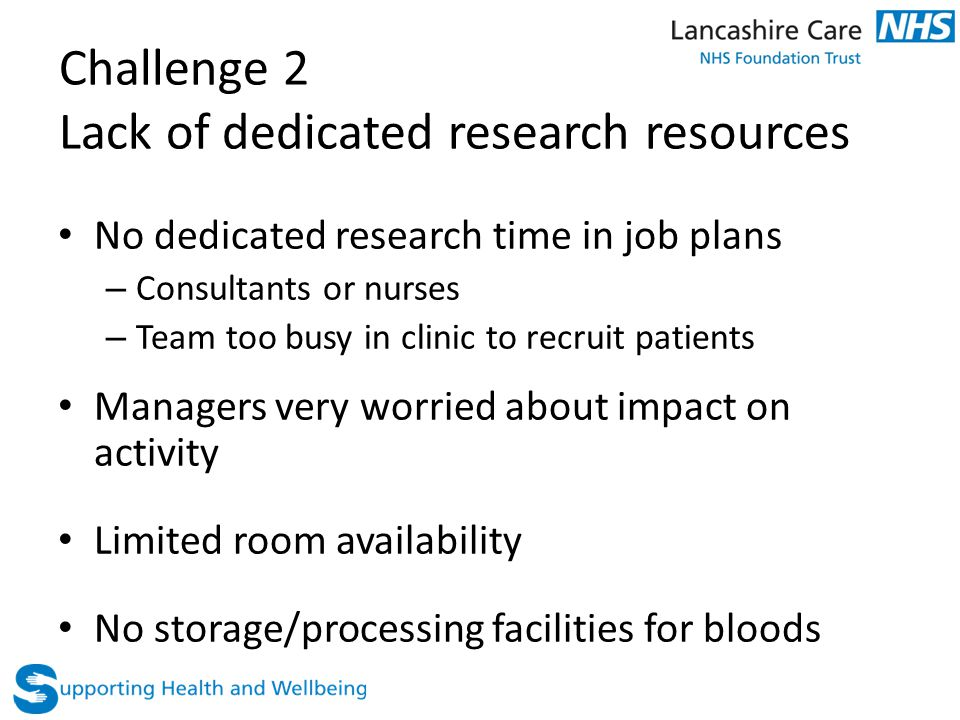 Challenge 2 Lack of dedicated research resources No dedicated research time in job plans – Consultants or nurses – Team too busy in clinic to recruit