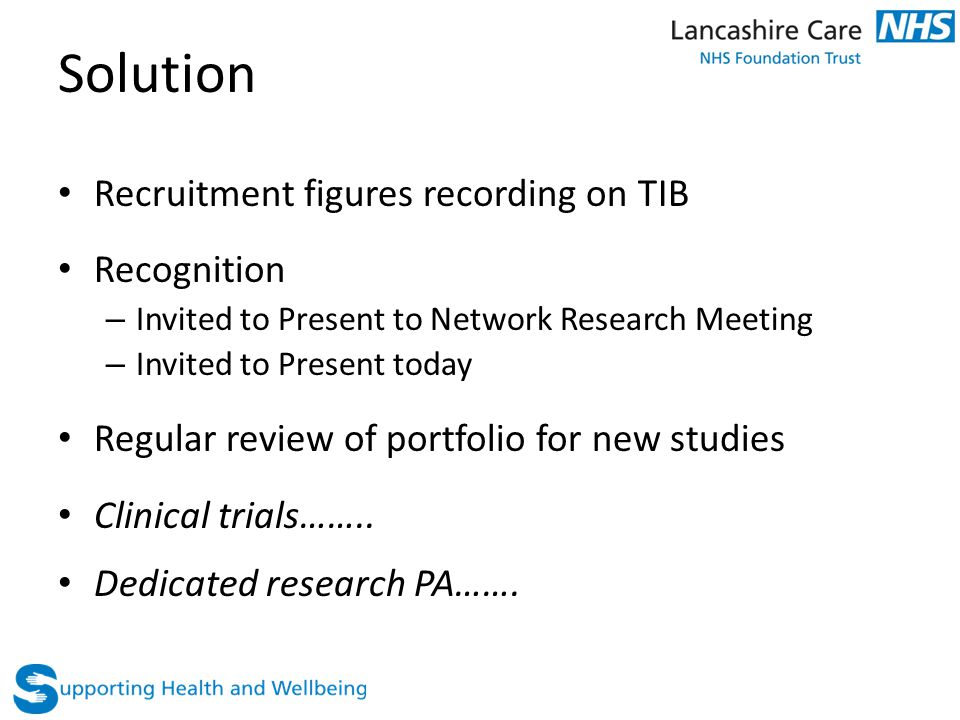 Solution Recruitment figures recording on TIB Recognition – Invited to Present to Network Research Meeting – Invited to Present today Regular review of portfolio for new studies Clinical trials……..