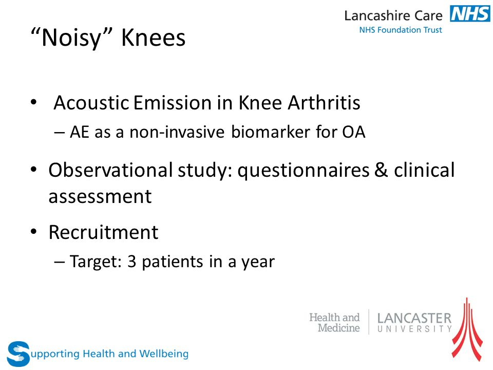 """Noisy"" Knees Acoustic Emission in Knee Arthritis – AE as a non-invasive biomarker for OA Observational study: questionnaires & clinical assessment Re"