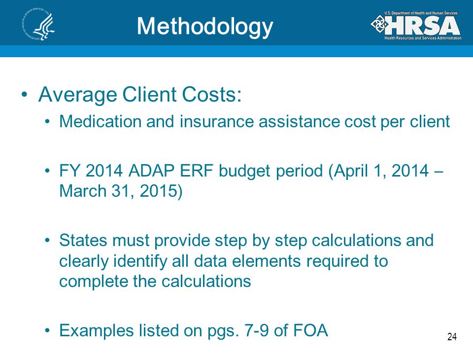 24 Methodology Average Client Costs: Medication and insurance assistance cost per client FY 2014 ADAP ERF budget period (April 1, 2014 – March 31, 201