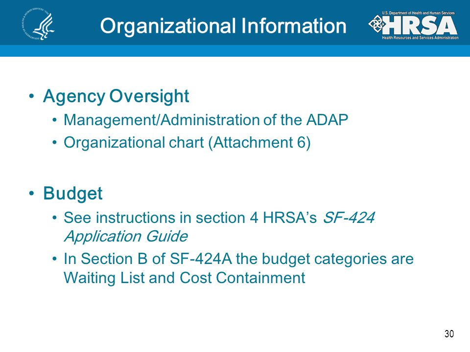 30 Organizational Information Agency Oversight Management/Administration of the ADAP Organizational chart (Attachment 6) Budget See instructions in se