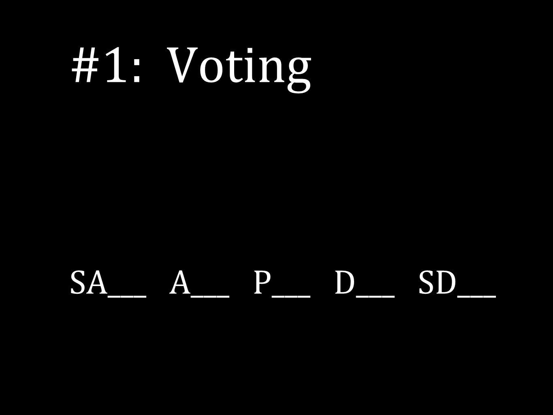 #1: Voting SA___ A___ P___ D___ SD___