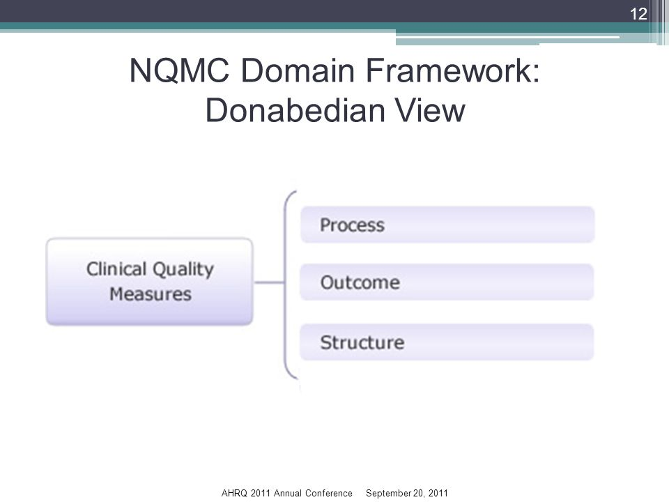 AHRQ 2011 Annual Conference September 20, 2011 NQMC Domain Framework: Donabedian View 12