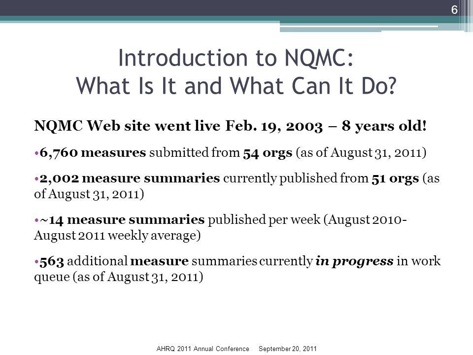 AHRQ 2011 Annual Conference September 20, 2011 Introduction to NQMC: What Is It and What Can It Do.