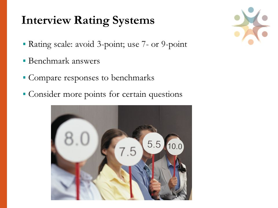Interview Rating Systems 38  Rating scale: avoid 3-point; use 7- or 9-point  Benchmark answers  Compare responses to benchmarks  Consider more points for certain questions