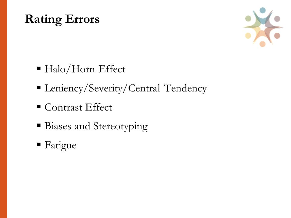 Rating Errors  Halo/Horn Effect  Leniency/Severity/Central Tendency  Contrast Effect  Biases and Stereotyping  Fatigue 39