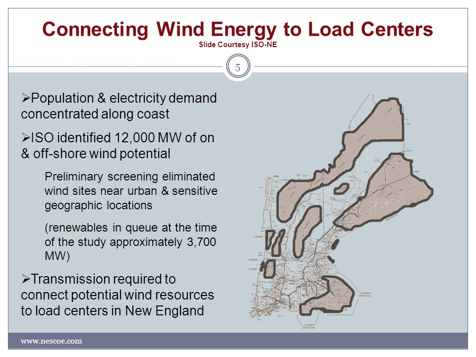 Connecting Wind Energy to Load Centers Slide Courtesy ISO-NE www.nescoe.com 5  Population & electricity demand concentrated along coast  ISO identified 12,000 MW of on & off-shore wind potential Preliminary screening eliminated wind sites near urban & sensitive geographic locations (renewables in queue at the time of the study approximately 3,700 MW)  Transmission required to connect potential wind resources to load centers in New England