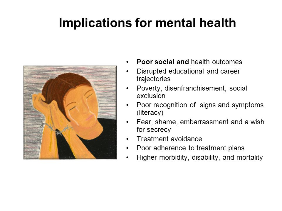 Implications for mental health Poor social and health outcomes Disrupted educational and career trajectories Poverty, disenfranchisement, social exclu