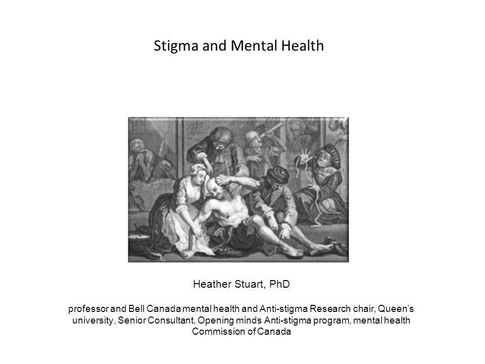 Stigma is a growing public health concern Internationally – WPA Open-the-Doors Global Network (1996) Stigma and Mental Disorder Section (2005) Task force on the destigmatization of psychiatry and psychiatrists (2009) – WASP, WHO, and others Nationally – Mental Health Commission of Canada's Opening Minds – Grand Challenges in Mental Health, Canada – Bell Canada's Mental Health Program