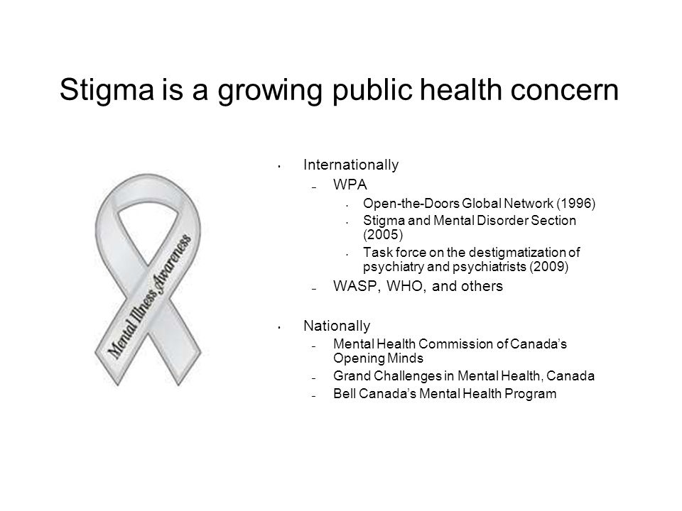 Stigma is a growing public health concern Internationally – WPA Open-the-Doors Global Network (1996) Stigma and Mental Disorder Section (2005) Task fo