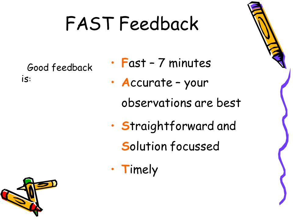 FAST Feedback Good feedback is : Fast – 7 minutes Accurate – your observations are best Straightforward and Solution focussed Timely