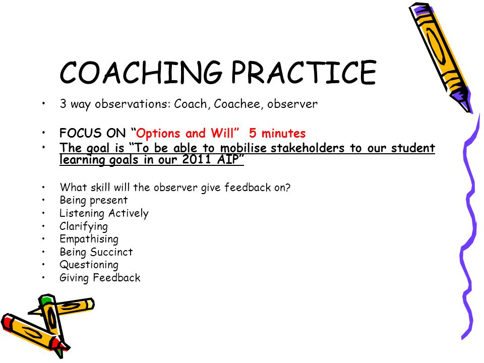 """COACHING PRACTICE 3 way observations: Coach, Coachee, observer FOCUS ON """"Options and Will"""" 5 minutes The goal is """"To be able to mobilise stakeholders"""