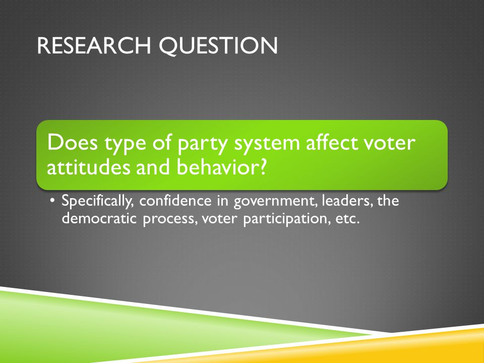 RESEARCH QUESTION Does type of party system affect voter attitudes and behavior.