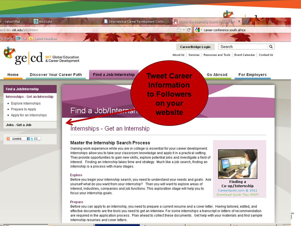 Tweet Career Information to Followers on your website