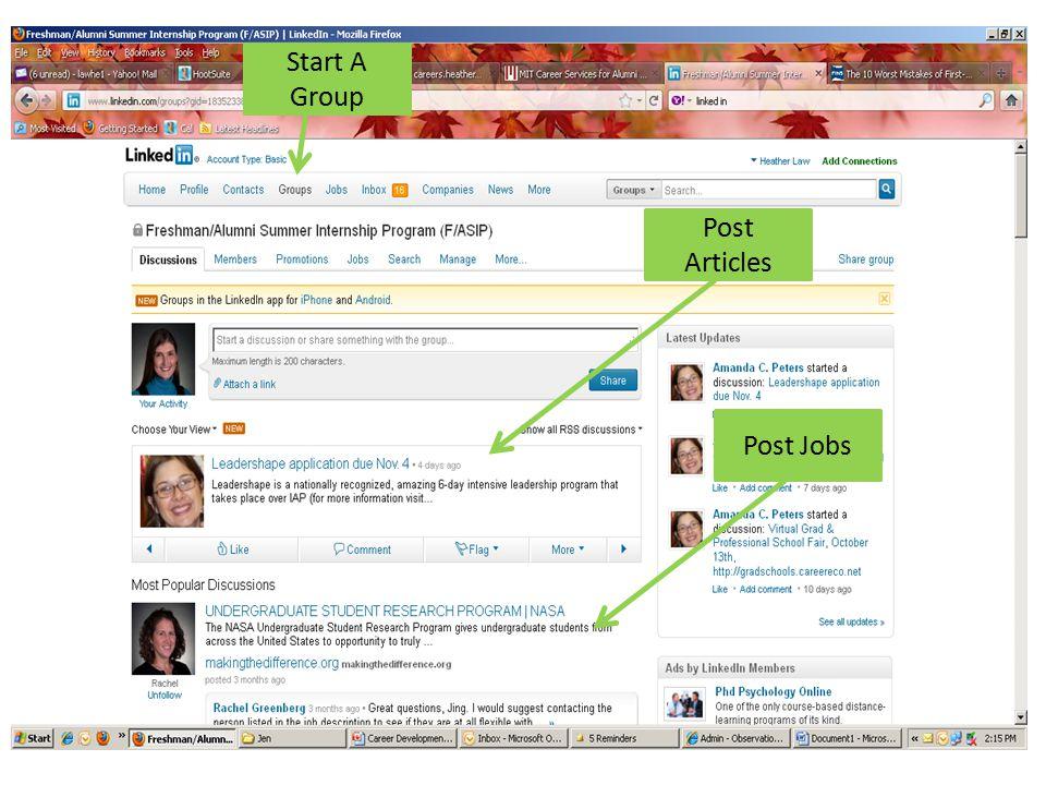 Start A Group Post Articles Post Jobs