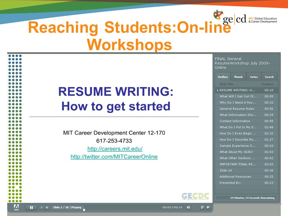 Reaching Students:On-line Workshops