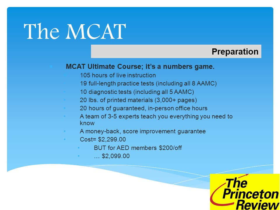 The MCAT  MCAT Ultimate Course; it's a numbers game.