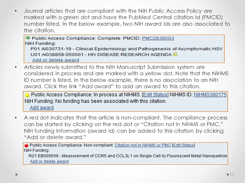 Journal articles that are compliant with the NIH Public Access Policy are marked with a green dot and have the PubMed Central citation Id (PMCID) number listed.