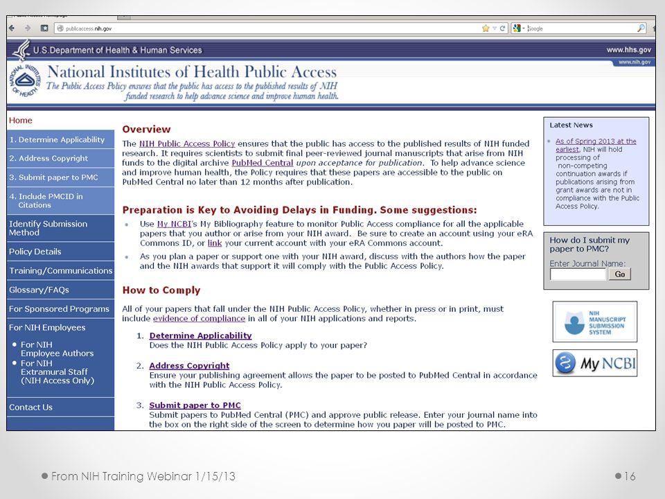 16From NIH Training Webinar 1/15/13