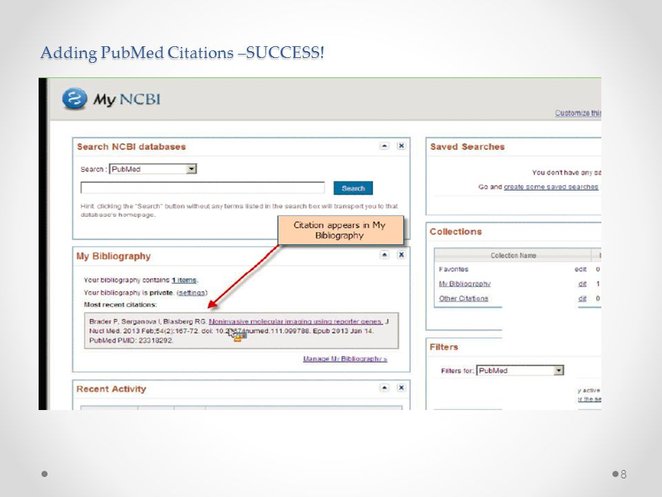 Adding PubMed Citations –SUCCESS! 8