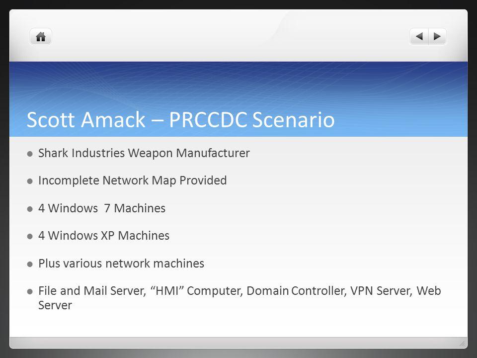 Scott Amack – PRCCDC Scenario Shark Industries Weapon Manufacturer Incomplete Network Map Provided 4 Windows 7 Machines 4 Windows XP Machines Plus var