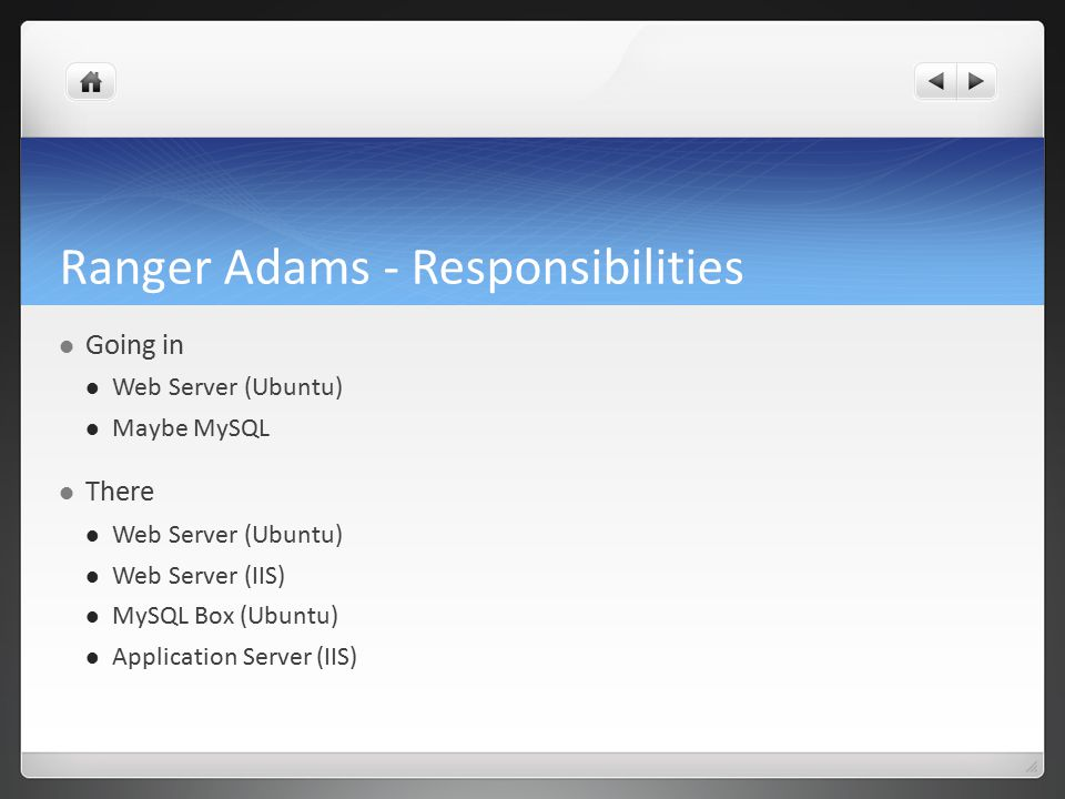 Ranger Adams - Responsibilities Going in Web Server (Ubuntu) Maybe MySQL There Web Server (Ubuntu) Web Server (IIS) MySQL Box (Ubuntu) Application Server (IIS)