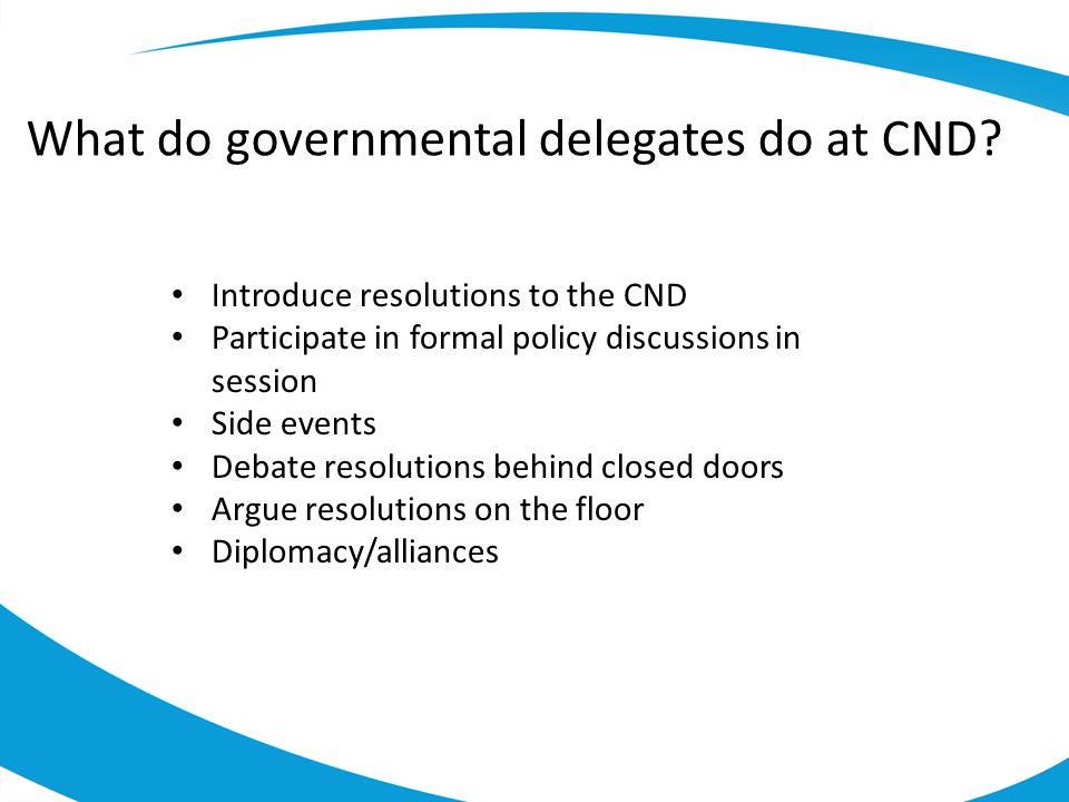 What do governmental delegates do at CND.