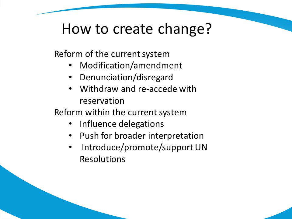 How to create change.