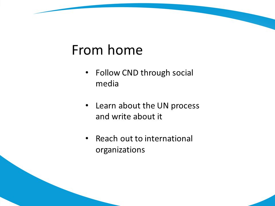 From home Follow CND through social media Learn about the UN process and write about it Reach out to international organizations