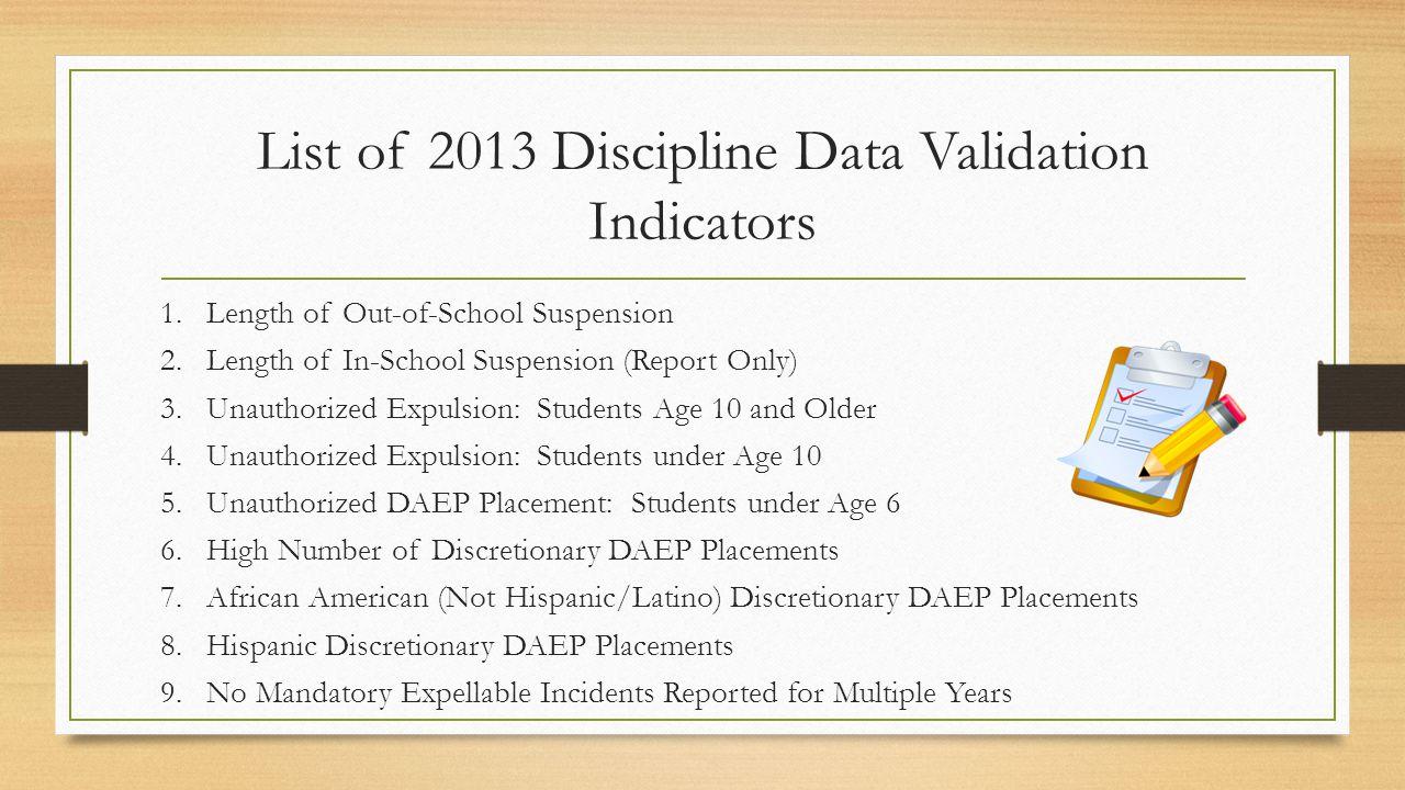 List of 2013 Discipline Data Validation Indicators 1.