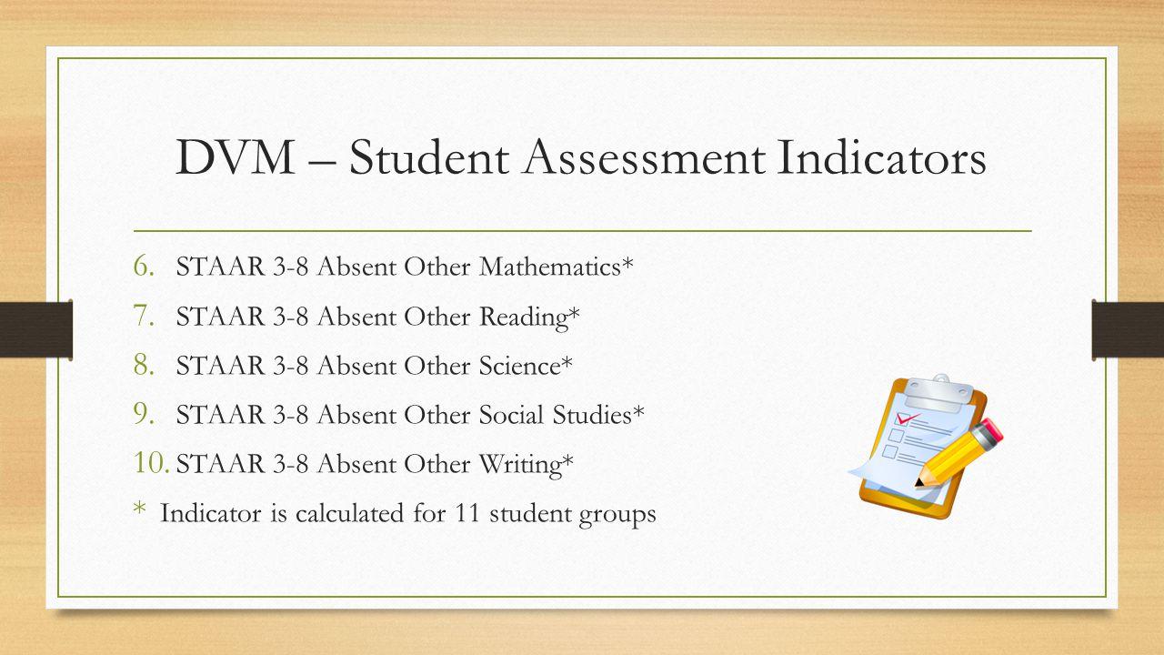 DVM – Student Assessment Indicators 6.STAAR 3-8 Absent Other Mathematics* 7.