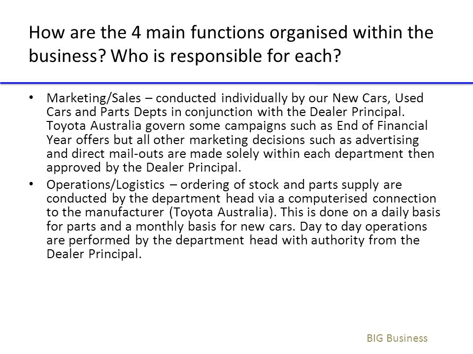 How are the 4 main functions organised within the business? Who is responsible for each? Marketing/Sales – conducted individually by our New Cars, Use